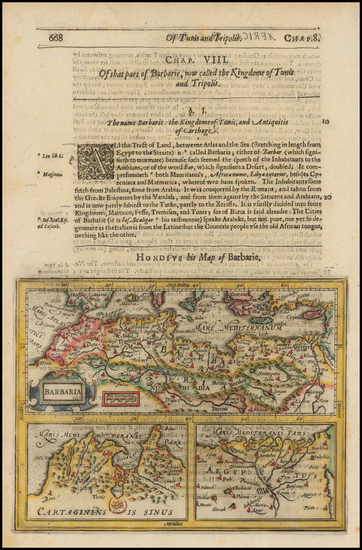Mediterranean, Egypt and North Africa Map By Jodocus Hondius / Samuel Purchas