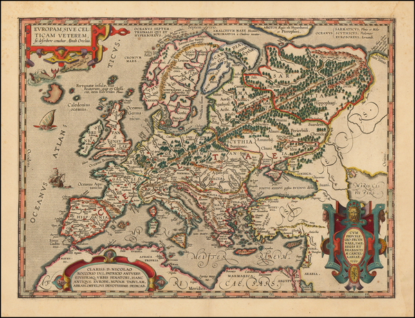 69-Europe Map By Abraham Ortelius