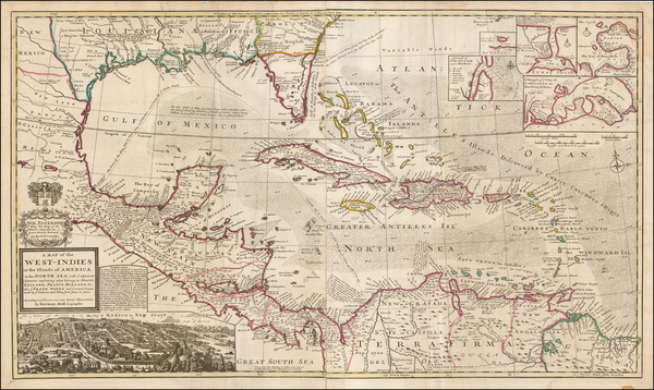 32-South, Southeast, Texas, Caribbean and Central America Map By Hermann Moll