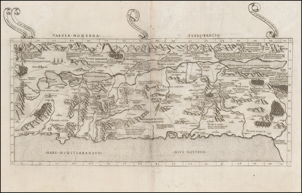 69-Holy Land Map By Claudius Ptolemy