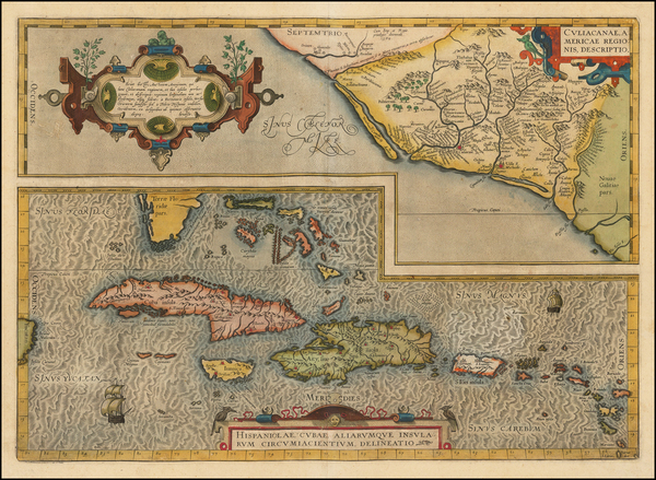 6-Mexico, Caribbean, Cuba, Hispaniola, Puerto Rico and Bahamas Map By Abraham Ortelius