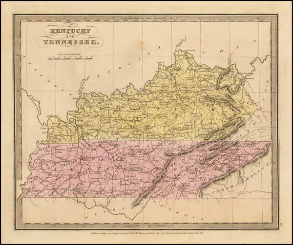 South, Kentucky and Tennessee Map By David Hugh Burr