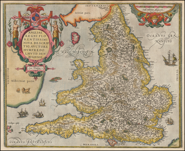 75-British Isles and England Map By Abraham Ortelius