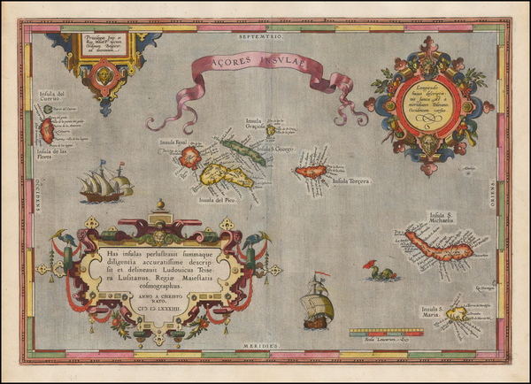 71-Atlantic Ocean, Portugal and Balearic Islands Map By Abraham Ortelius