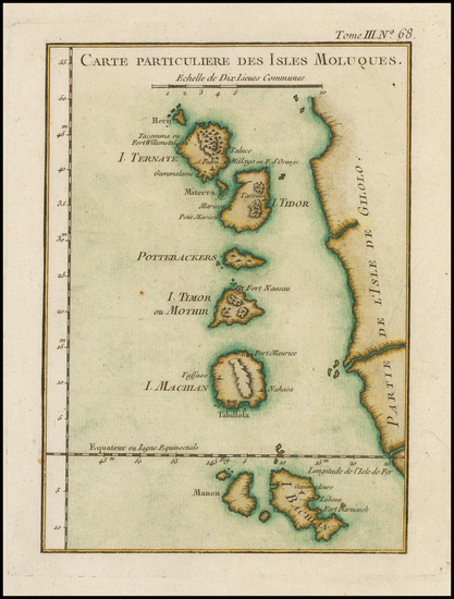 Southeast Asia and Indonesia Map By Jacques Nicolas Bellin