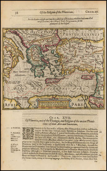 Greece, Mediterranean, Other Islands, Holy Land and Turkey & Asia Minor Map By Jodocus Hondius / Samuel Purchas
