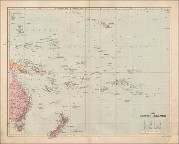 82-Australia & Oceania, Pacific, Oceania and Other Pacific Islands Map By Edward Stanford