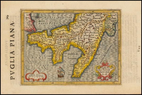 73-Italy Map By Jodocus Hondius - Gerhard Mercator