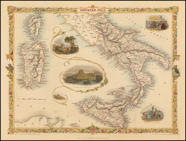 Southern Italy, Corsica, Sardinia and Sicily Map By John Tallis