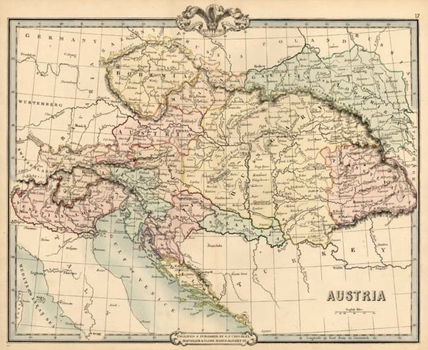 7-Europe, Austria, Hungary, Romania and Balkans Map By G.F. Cruchley