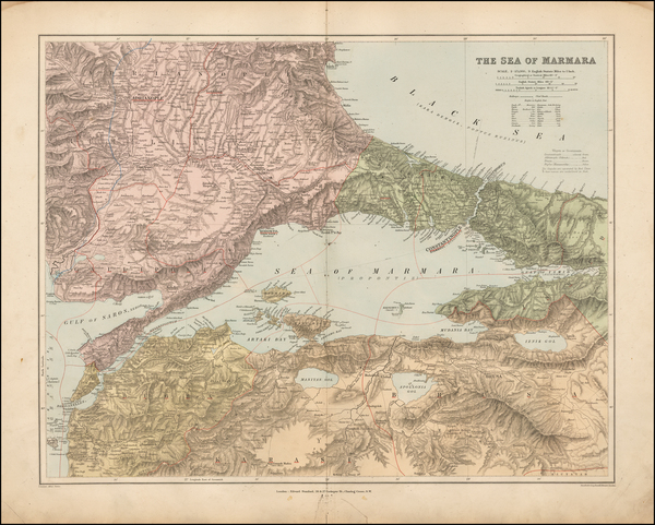 98-Greece, Turkey and Turkey & Asia Minor Map By Edward Stanford