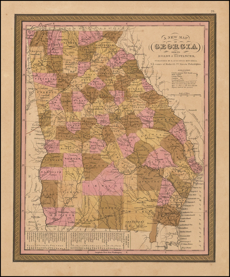 42-Georgia Map By Samuel Augustus Mitchell