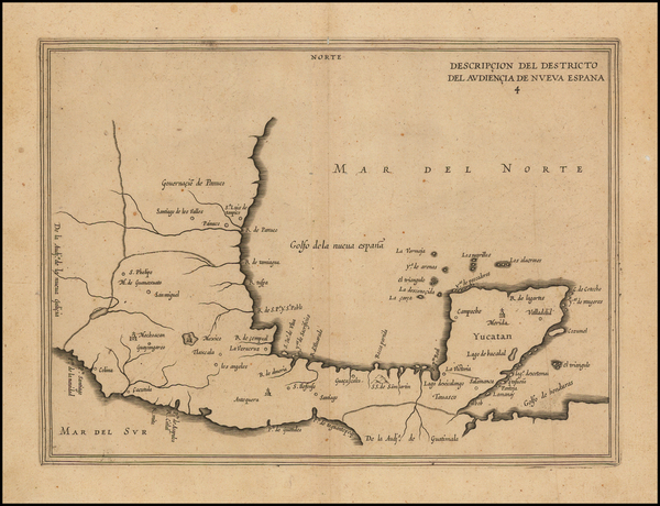 2-Mexico Map By Antonio de Herrera y Tordesillas