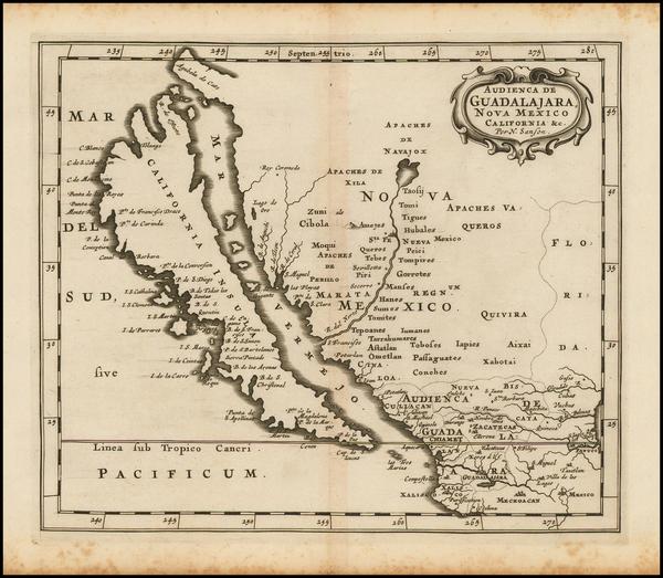 92-Southwest, Mexico, Baja California and California Map By Nicolas Sanson