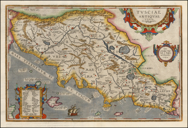 76-Italy Map By Abraham Ortelius