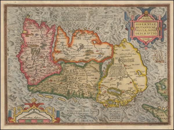 66-Ireland Map By Abraham Ortelius