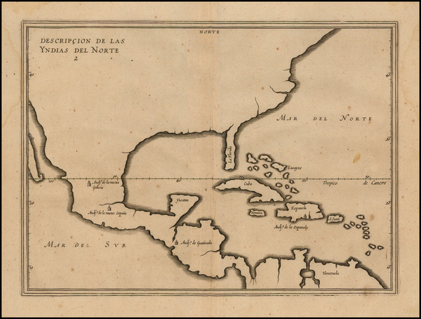 25-United States, Florida, South, Southeast and Mexico Map By Antonio de Herrera y Tordesillas