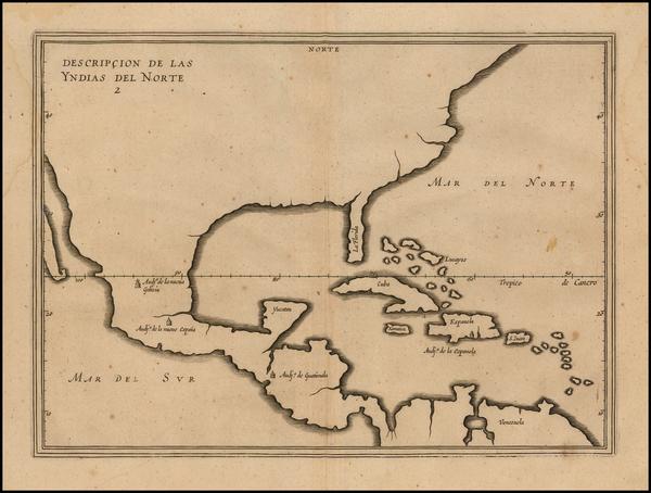 97-United States, Florida, South, Southeast and Mexico Map By Antonio de Herrera y Tordesillas