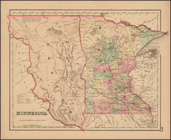 61-Midwest, Minnesota, Plains, North Dakota and South Dakota Map By Joseph Hutchins Colton