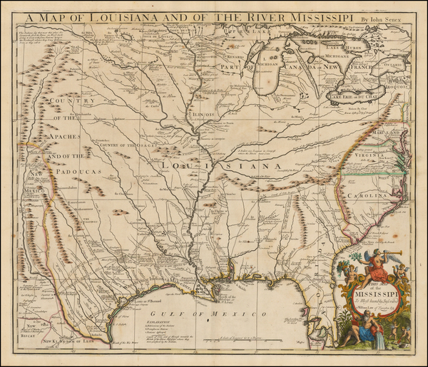 66-United States, South, Southeast, Texas, Midwest and Plains Map By John Senex