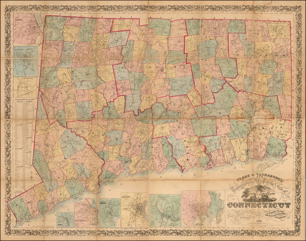 94-Connecticut Map By Robert Tackabury / George Tackabury / Richard Clark