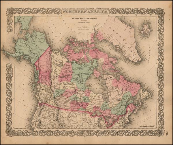 77-Alaska and Canada Map By Joseph Hutchins Colton