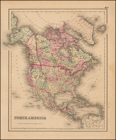 88-North America Map By Joseph Hutchins Colton