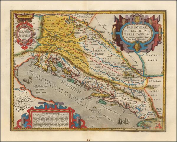 32-Balkans, Croatia & Slovenia and Bosnia & Herzegovina Map By Abraham Ortelius