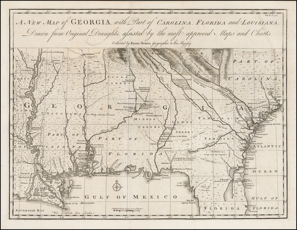 13-South, Southeast and Georgia Map By Emanuel Bowen