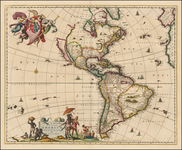87-California as an Island and America Map By Nicolaes Visscher I
