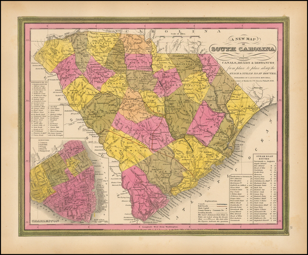 Southeast and South Carolina Map By Samuel Augustus Mitchell