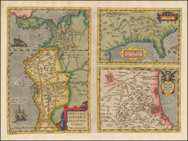 30-Florida, South, Southeast, Central America and South America Map By Abraham Ortelius