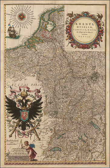 Europe, Netherlands, Switzerland, Germany, Austria and Hungary Map By Willem Janszoon Blaeu