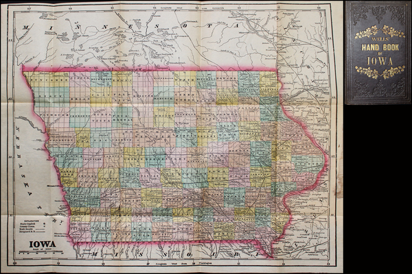 Iowa Map By J. G.  Wells