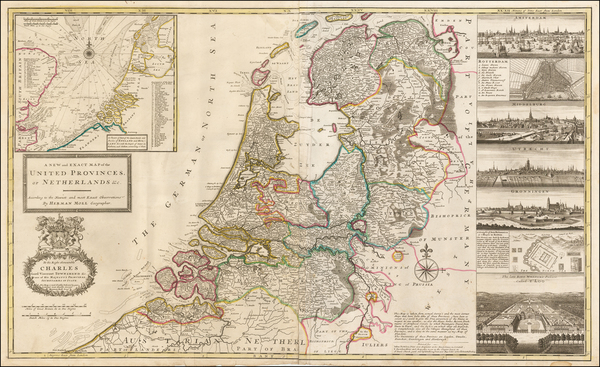 78-Netherlands and Luxembourg Map By Herman Moll