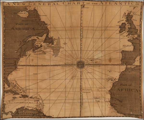 66-Atlantic Ocean and North America Map By Anonymous