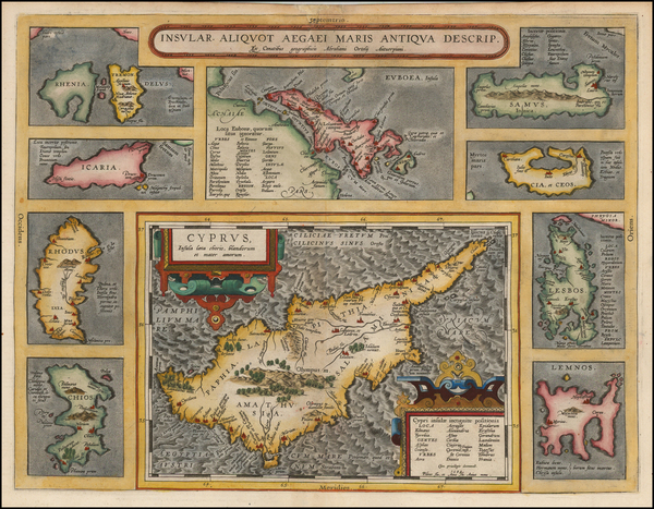 Greece and Cyprus Map By Abraham Ortelius