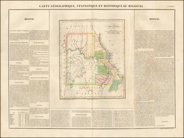 64-Missouri Map By Jean Alexandre Buchon