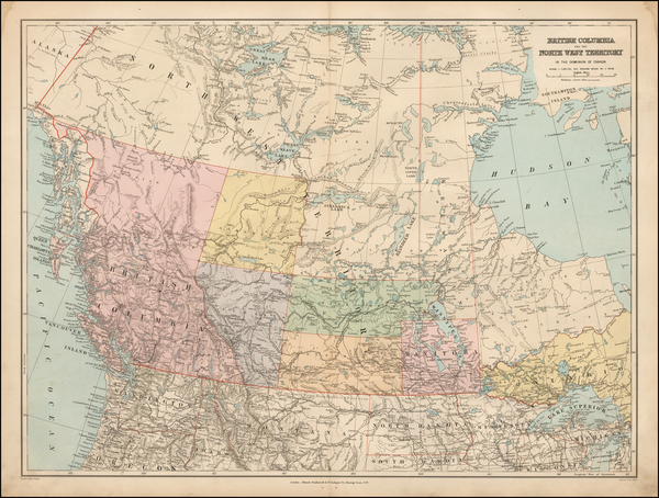 Canada Map By Edward Stanford
