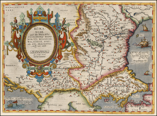 62-Ukraine, Romania, Balkans and Bulgaria Map By Abraham Ortelius