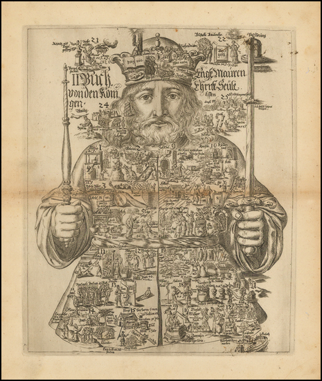 1-Comic & Anthropomorphic Map By Johannes Buno
