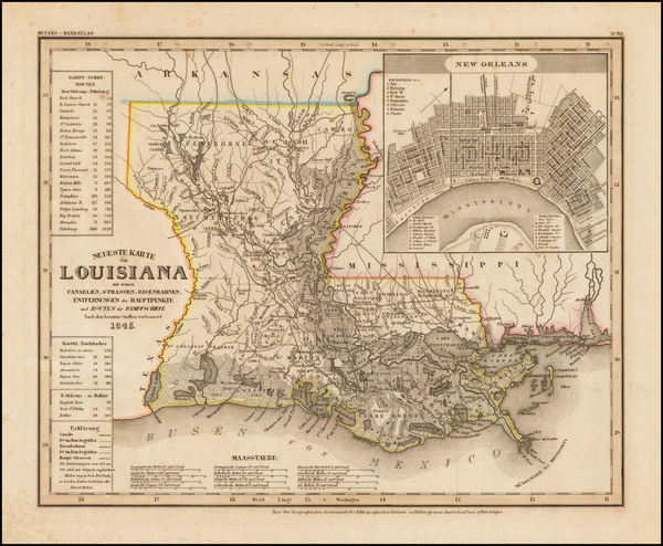 68-Louisiana Map By Joseph Meyer  &  Carl Radefeld