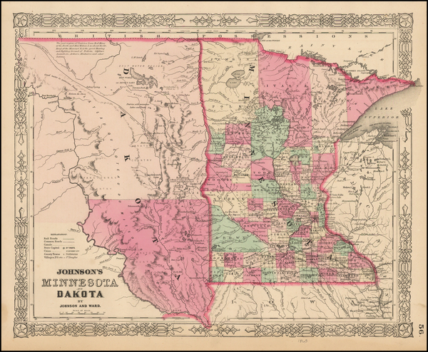 92-Midwest, Minnesota, Plains and North Dakota Map By Benjamin P Ward  &  Alvin Jewett Johnson