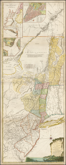 68-New England, Vermont, New York State, Mid-Atlantic, New Jersey and Canada Map By Sayer & Be
