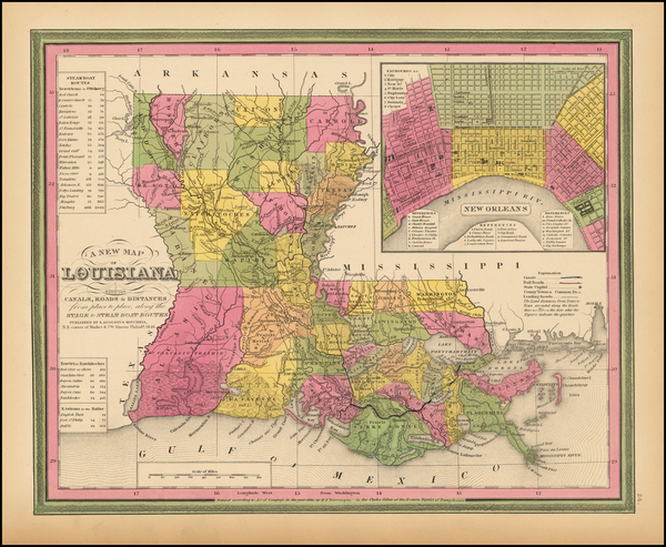 24-South, Louisiana and New Orleans Map By Samuel Augustus Mitchell