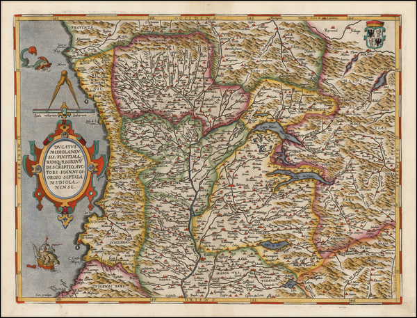 72-Northern Italy Map By Abraham Ortelius