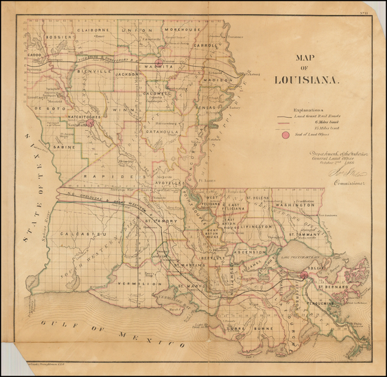 56-South and Louisiana Map By General Land Office