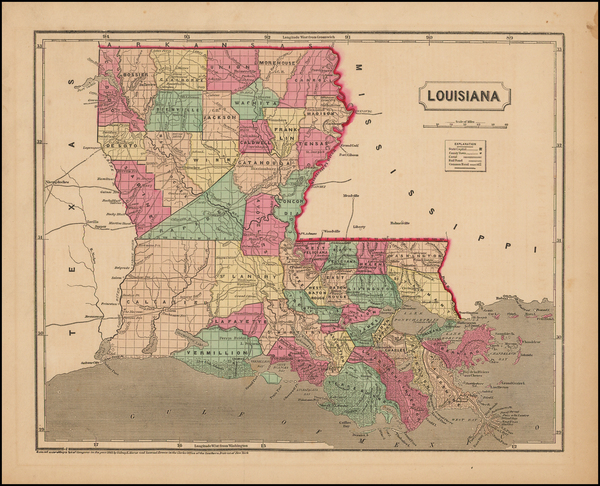 45-South and Louisiana Map By Sidney Morse  &  Samuel Breese