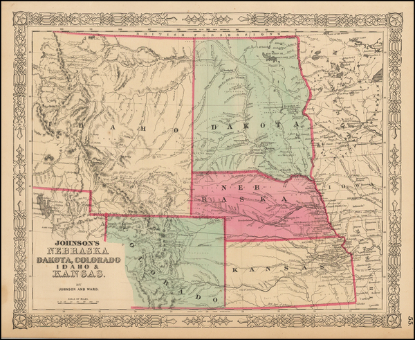 80-Plains, North Dakota, Southwest, Rocky Mountains, Idaho and Montana Map By Benjamin P Ward  &am