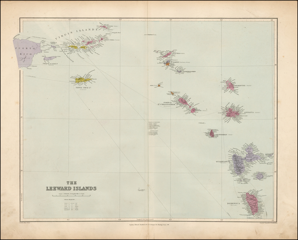 73-Caribbean and Other Islands Map By Edward Stanford
